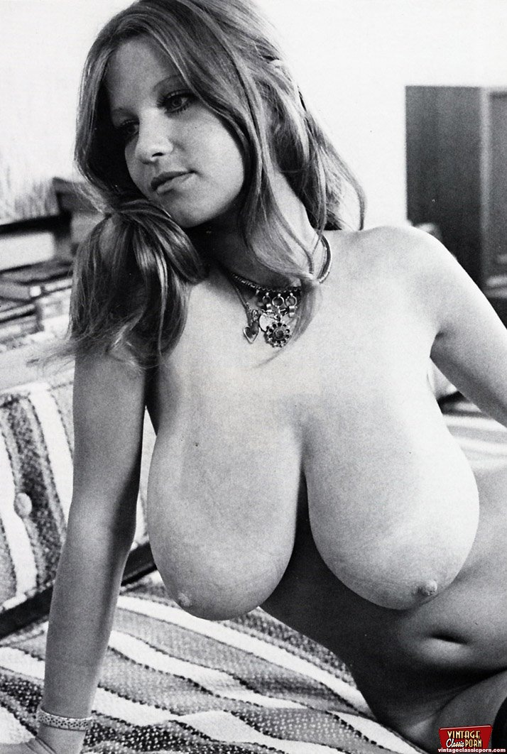 Classic retro porn - Teenage seventies chick showing her big natural boobies ...