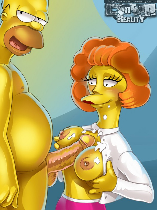Toon Homer fucking tits of his neighbor before being - Picture 1