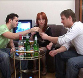 Naive redhead gets drunk with 2 guys she met on…