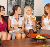 4 hot fucking milfs take cock sucking lesssons in…