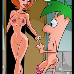 Adorable redhead toon milf sucking and fucking huge dick in bathroom.
