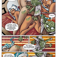Sex starving toon Yoda going wild and fucks two younger girls.
