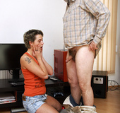 Dumb teenage girl explores an old senior his huge…