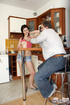 Horny senior enjoying his au pairs pussy in the kitchen