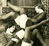 Sensual vintage ladies in sexy lingerie showing…