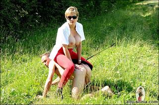 busty domina outdoors