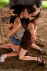 Two girls dominated and fucked outdoors!