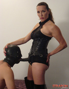 Femdoms dominate their gimp and tranny fuck toys
