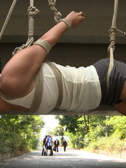 Outdoor nudity - Smoking hot European babe - Unique Bondage - Pic 3