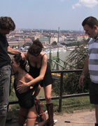 European hottie gets fucked while strangers touch…