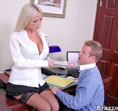 Busty Nikki Benz really want her office mate to…