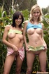 Two busty teenage friends toying eachothers tight…