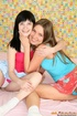 Two lesbian teenie girls banging eachother with a…