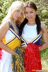 Two cute teenie cheerleaders toying their pussy…