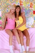A blonde and brunette teenie girl playing dirty…