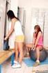 Two brunette lesbian teenagers toying after a…