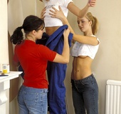 Three cute teenage lesbians decorating their own…