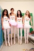 Four cute lesbian girls practising their ballet…