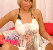 Exotic teenie Sasha Von in white dress stripping…