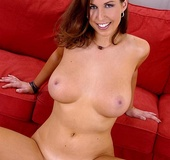 Busty brunette chick Caroline C riding the Sybian