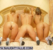 Three Hot Blonde Babes Fuck With Strapon