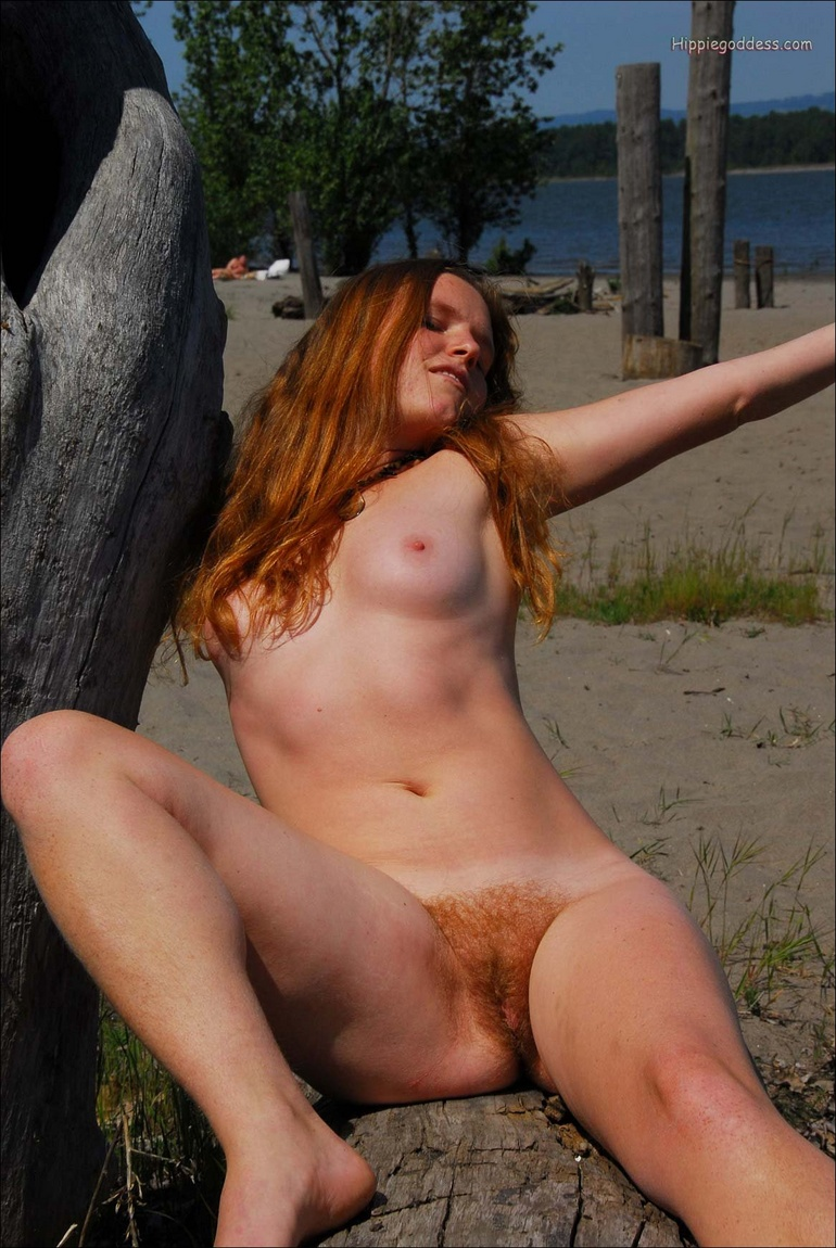 Natural hairy pussy. Hippie with long red h - XXX Dessert - Picture 13