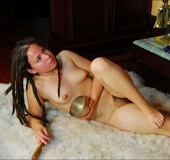 Young hippie with puffy breasts, hairy bush and…