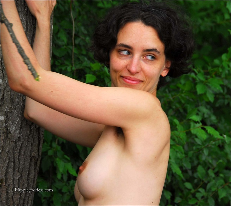 Erotic girls - Mature, Hairy Hippie with very full bush/treasure trail, -