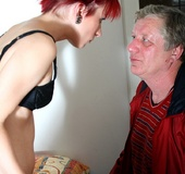 Grey old man loves pounding a teen redheads…
