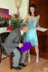 Lean girl having her old boss peep under her skirt…