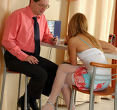 Naughty lass in too short skirt grabbed by oldie…