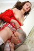 Sexy maid clad in red gets screwed by aged master…
