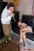 Leggy girl falling asleep after a drink letting…