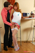Naughty lass in too short skirt grabbed by oldie and pulled onto his boner