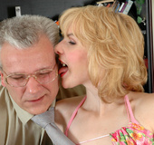 Slutty young secretary luring her graying boss…