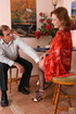 Upskirt teaser unbuttons her blouse making oldie…