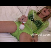 Sexy babe in green rubber pantys makes her pussy&hellip;