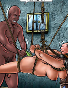Slave girl gets her both holes plugged by the toy!