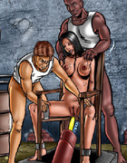 Slave girl tied to the chair and gets her holes…