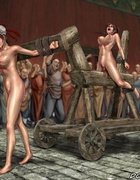 Naked girl hitched to a cart and let the city