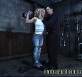 Restrained with duct tape, Kylie Wilde cannot move…