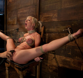 Sexy blond with pig tails, braces and big tits is…