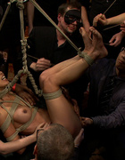 Tied up and hanged asian hottie gets gang banged…