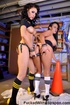 Busty brunettes strapon fuck in the garage