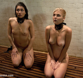 Two collared and bound slaves being butt fucked…