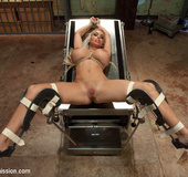 Submissive blonde slave with huge breasts enjoys…