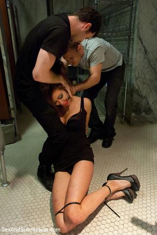 tied enslaved brunette pleasing