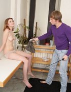 Spanked and leashed redhead slave gets her ass&hellip;