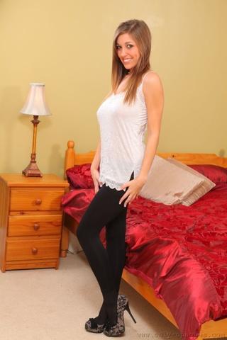 hot brunette teases white