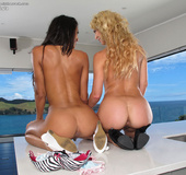 Two erotic lesbian friends toying and licking each…